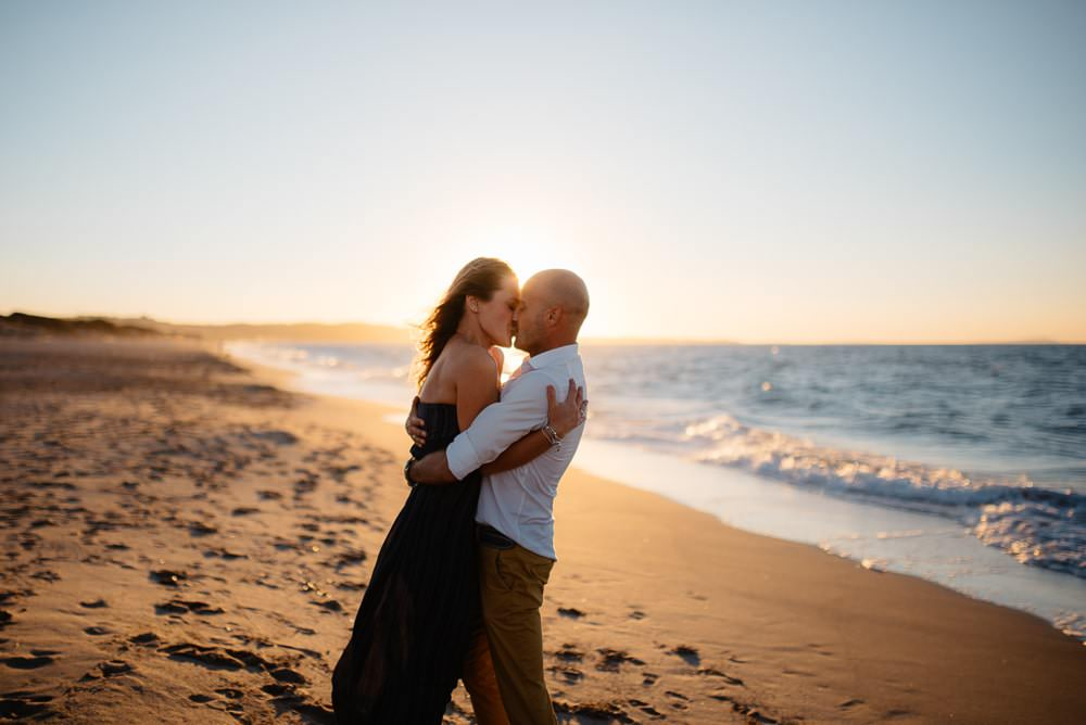 Engaged on the beach in Sassari