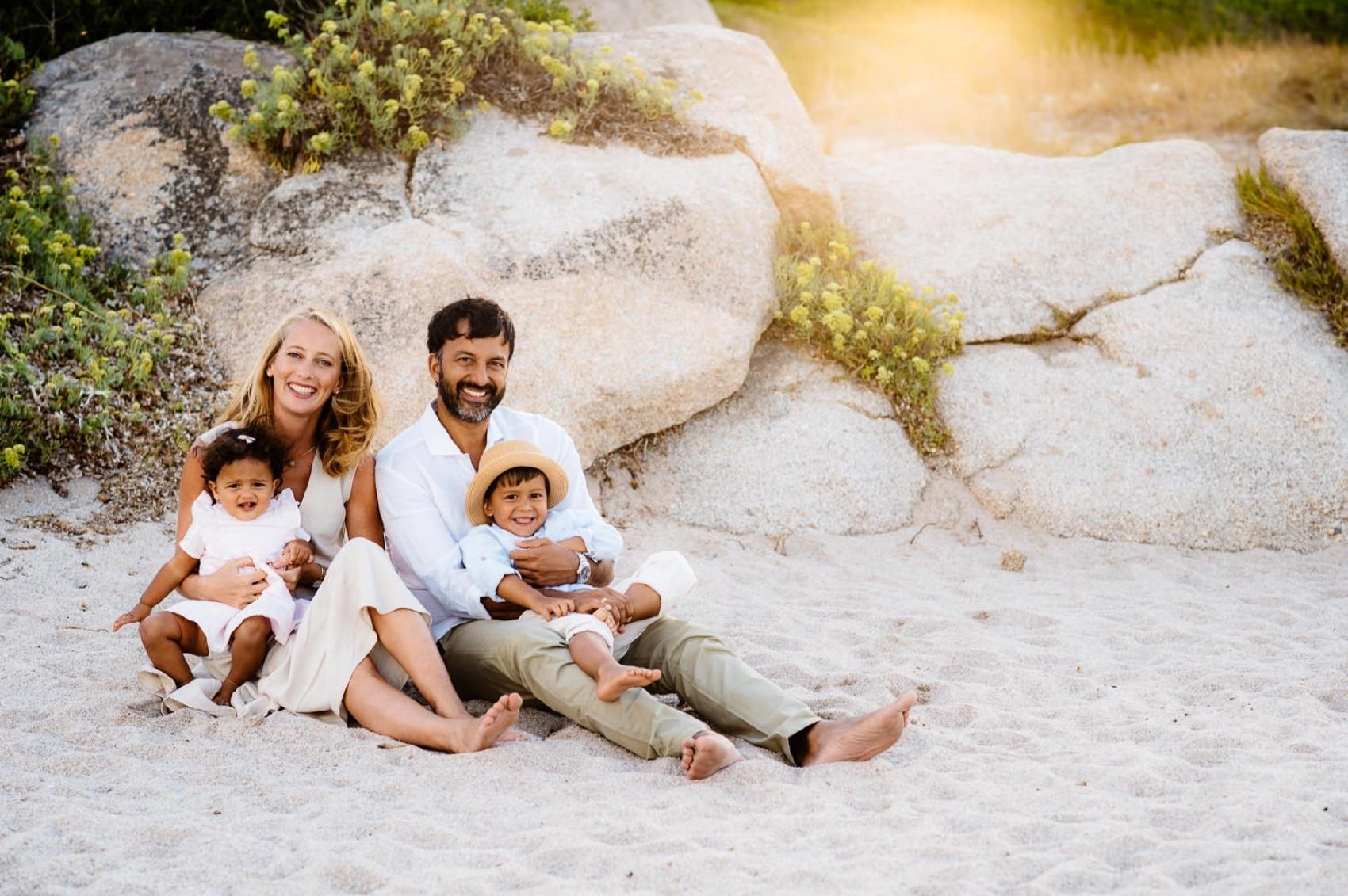 family photo in sardinia beach