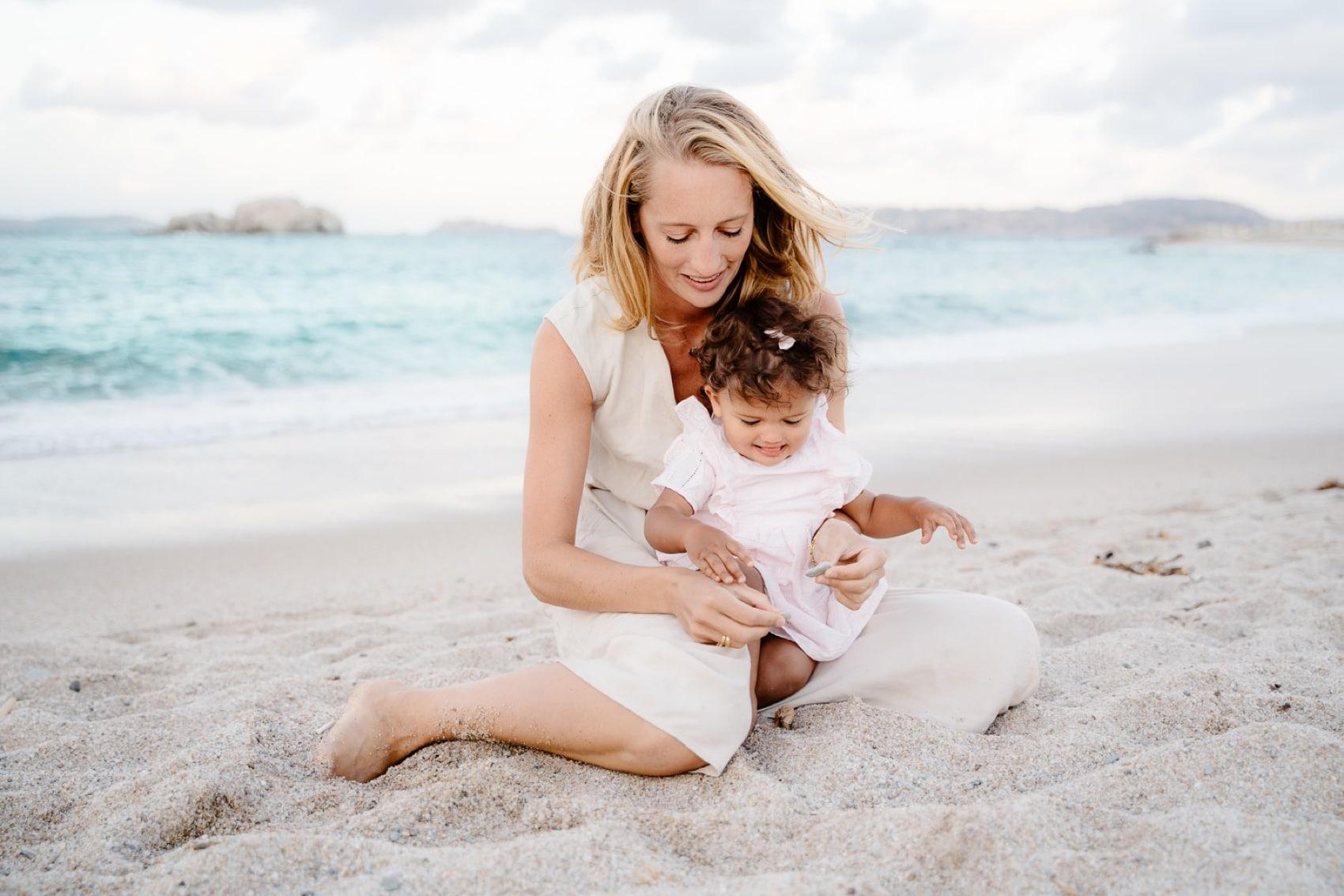 family lifestyle photo on the beach
